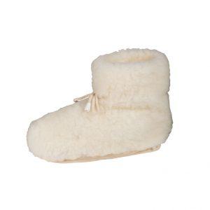 Witte wool warmers rotodne pantoffels